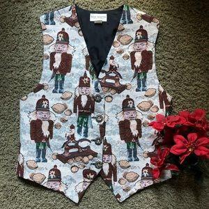 Billie Martin Vintage Christmas vest Nutcracker Lg